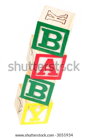 Baby Spelled Out with Alphabet Blocks