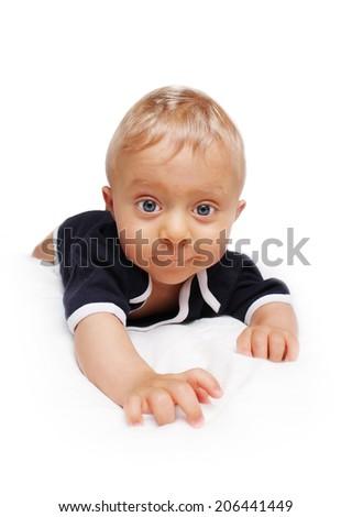 baby starting crawling - stock photo