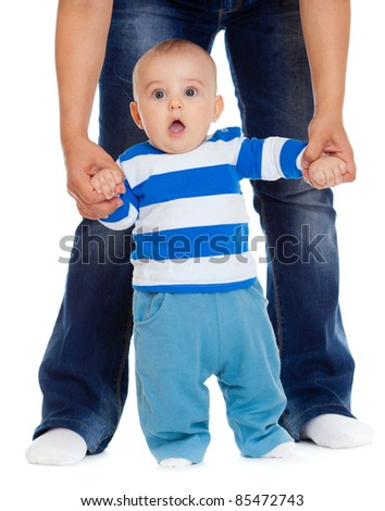 baby steps first time isolated - stock photo