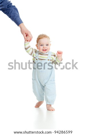 baby steps first time isolated studio shot - stock photo