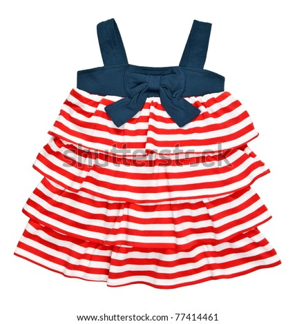 baby striped dress isolated on white background - stock photo