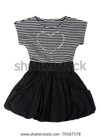 Baby striped dress with a heart-shaped pattern on a white background - stock photo