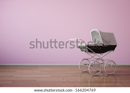 Baby stroller on pink wall with wooden floor - stock photo