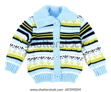 Baby sweater striped with blue strip on white background - stock photo