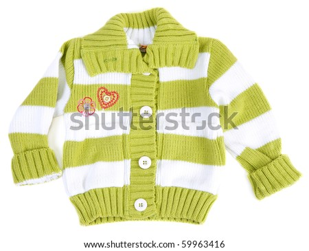 Baby sweater striped with green strip on white background - stock photo