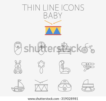 Baby thin line  icon set for web and mobile applications. Set includes - baby boy, girl, crib, tricycle, rabbit, rattle, car seat, gun, ship, drum, potty. Logo, pictogram, infographic element - stock photo