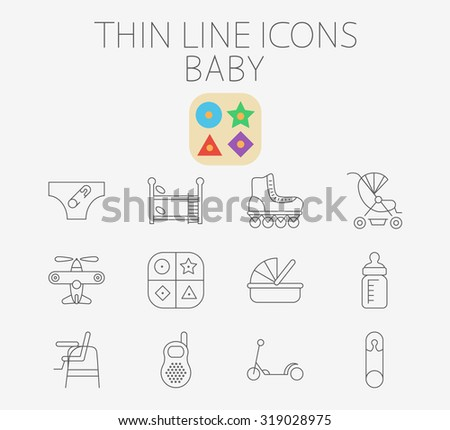 Baby thin line  icon set for web and mobile. Set includes - pin, airplane, crib, pram, scooter, diapers, bunk bed, roller skate, educational game, feeding bottle, chair for babies, baby monitor. - stock photo