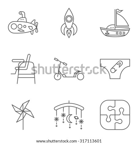 Baby thin line related  icon setfor web and mobile applications. Set includes - submarine, rocket, ship, highchair, scooter, diapers, whirligig, carousel, puzzle. It can be used as - logo, pictogram. - stock photo