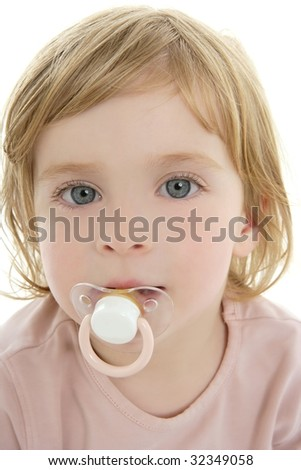 Baby toddler blond hair blue eyes and pacifier over white background