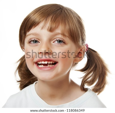 baby tooth  - little girl with missing teeth - stock photo