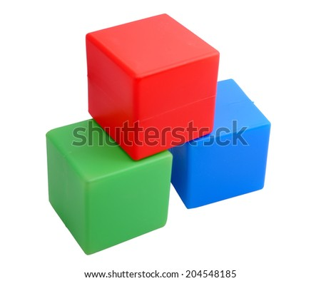 baby  toy. red, green and blue plastic cubes