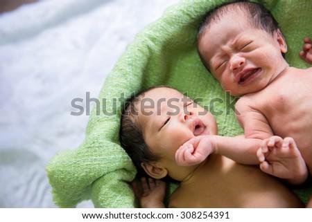 baby twins sleeping - stock photo