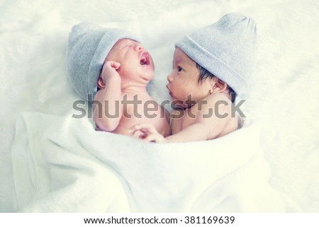 baby twins sleeping - stock photo