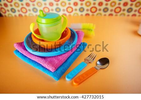 baby utensils for eating - stock photo