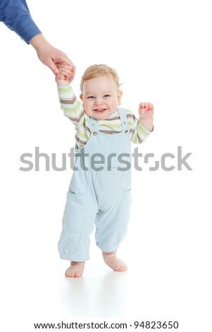 baby walking closeup portrait on white - stock photo
