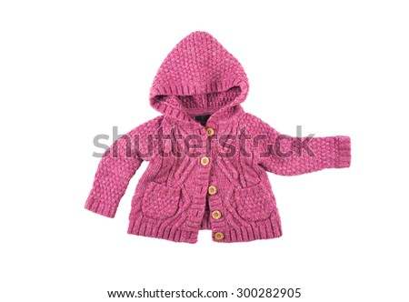 Baby warm knitted woolen pink sweater with buttons and hood - stock photo