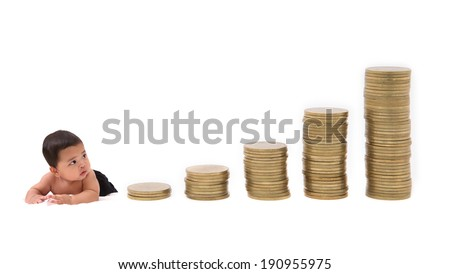 baby watch goes up the gold coins on a white background. - stock photo