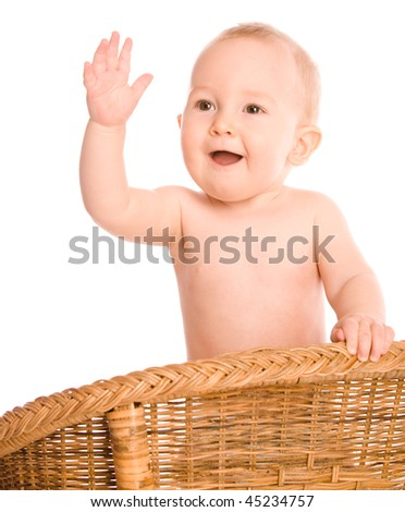 Baby waving right hand isolated on white - stock photo