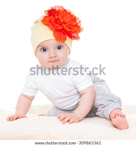 Baby with a flower hat on. Beautiful happy baby . One,isolated on white. - stock photo