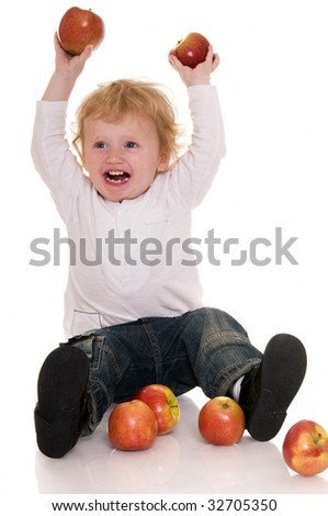 Baby with apple isolated on white. - stock photo