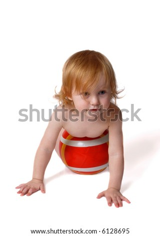 baby with ball - stock photo