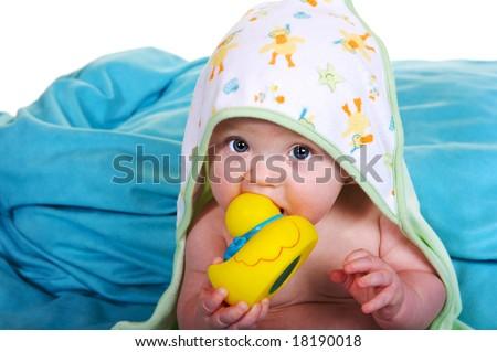 baby with bathtub stuff - stock photo