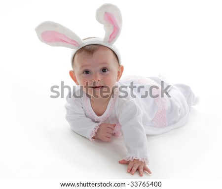 Baby with Bunny Ears - stock photo