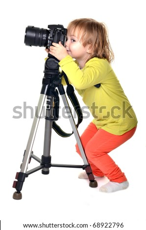 baby with camera - stock photo