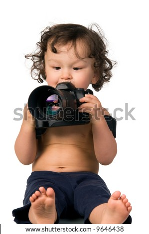 Baby with camera,isolated on a white background.