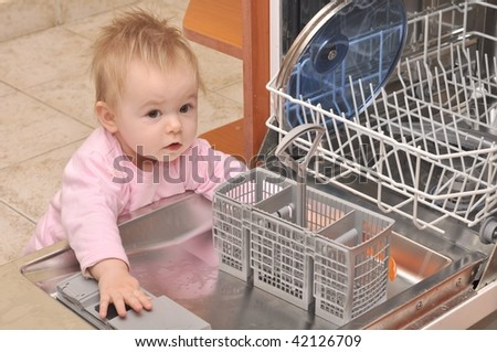 baby with dishwasher