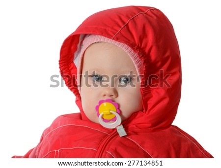 baby with dummy in red hood - stock photo