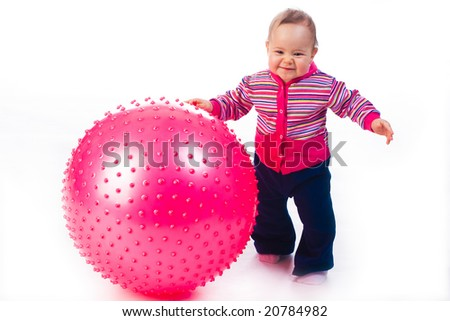 Baby with Fitness Ball isolated on white - stock photo