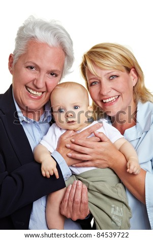 Baby with happy mother and smiling grandmother