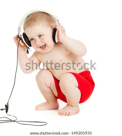 baby with headphone. young DJ - stock photo