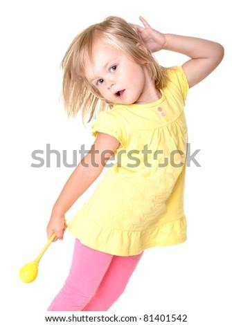 baby with maracas - stock photo
