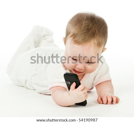 Baby with mobile phone on white background