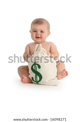 Baby with money bag on white background - stock photo