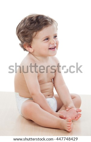 Baby with one years old doing funny gestures isolated on white background