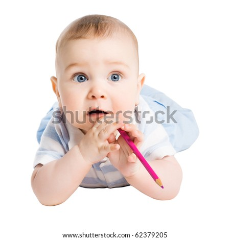 baby with pencil in mouth