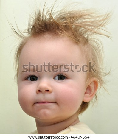 baby with punk hair style - stock photo