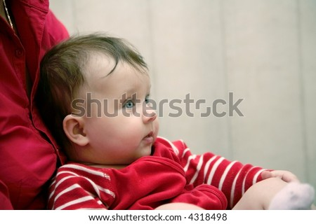 baby with red clothes - stock photo