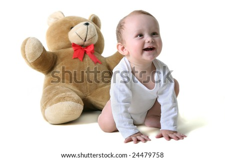baby with teddy - stock photo
