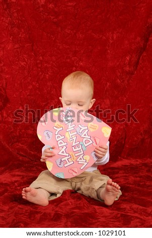 Baby with Valentine - stock photo