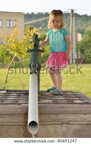 baby with water pump