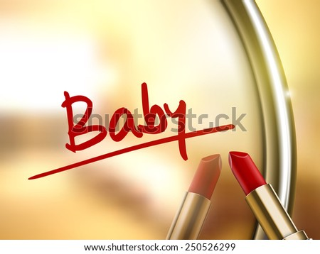 baby word written by red lipstick on glossy mirror  - stock photo