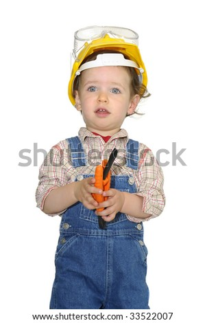 Baby worker with hat and tools isolated in white