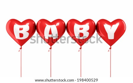 Baby writing red heart balloons (isolated on white and clipping path) - stock photo