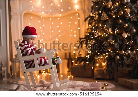 Baby 1 Year Old Wearing Santa Stock Photo 516195154