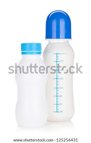 Baby yoghurt and milk bottle. Isolated on white background