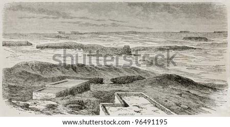Babylon ruins old view. Created by De Bar after Lejean, published on Le Tour du Monde, Paris, 1867 - stock photo
